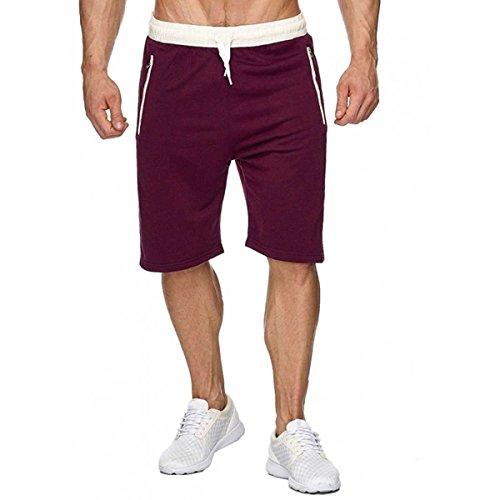 INCERUN herren Sport Joggen und Training Shorts Fitness Fitness Kurze Hose Jogging Hose Bermuda Wein Rot L - Rote Trainings-shorts