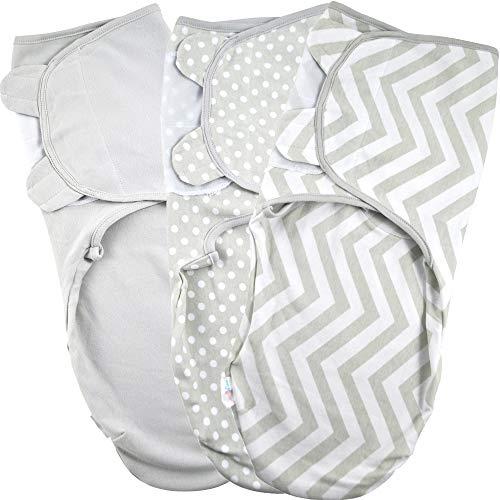 Baby Pucksack Wickel-Decke 220GSM / 1.0 TOG - 3er Pack Universal Verstellbare Schlafsack Decke für Säuglinge Babys Neugeborene 0-3 Monate Grau Baby 0 3 Monate
