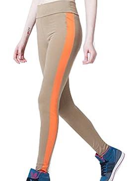Mujer Leggings Push Up Mallas Pantalones de Yoga Mujeres Pantalones de Chándal Patchwork de Cuero Cintura Alta...