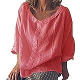 SOLELING ♚♚ Nuove Donne Casual Top in Lino Camicetta T-Shirt a Maniche Corte T-Shirt con Scollo a V Allentato Pure Tunic Dress Party Dress
