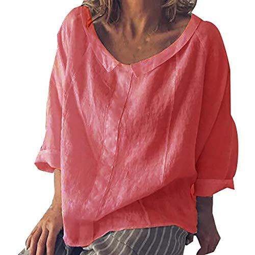 Cup Tee Kostüm - iYmitz 3/4-Arm Damen Streetwear Einfarbig Rundausschnitt Leinen Frauen Freizeit Bluse Sommer Freizeithemd(rot,EU-50/CN-5XL)