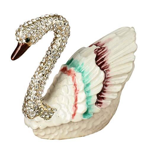 WanTo Schwan Schmuck dekorative Trinket Box Sammler Ornament Geburtstagsgeschenke HochzeitsbevorzugungenSchmuck Ohrring Halskette Ring Inhaber -