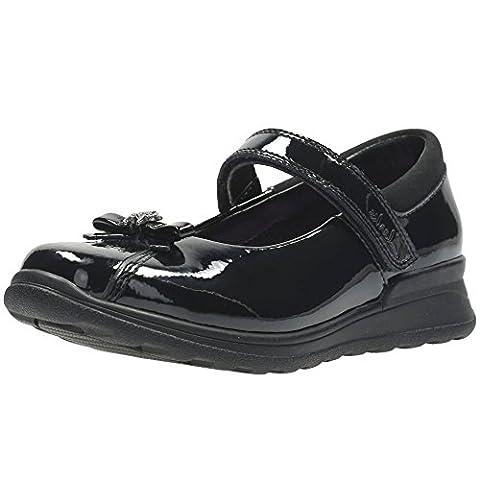 Clarks , Chaussures de ville à lacets pour fille - noir - noir verni,