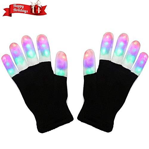 (Charlemain LED Handschuhe mit 3 Lichtfarbe und 6 Modus, blinkende Handschuhe Spielzeug für Weihnachten, Halloween, Kostüm Beleuchtung Geschenke für Kinder, Mädchen, Junge, Erwachsene, zum Geburztag.)