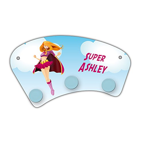 Wand-Garderobe mit Namen Ashley und schönem Motiv mit Superheldin für Mädchen - Garderobe für Kinder - Wandgarderobe -