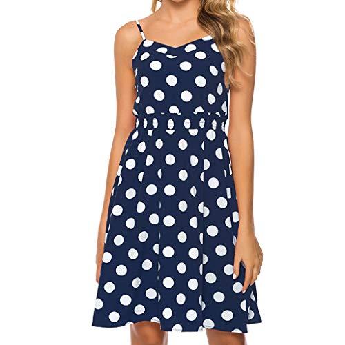 Dasongff Damen Spaghetti Bügel Trägerkleid Vintage Polka Dots Sommerkleid A-Line Hohe Taille Swing Kleid Basic Casual Minikleid Schöne Strandkleider A-line Vintage Mantel