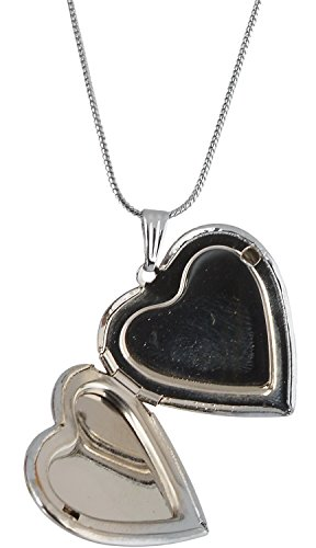 Memoir Silver Plated Mirror front finish Heart Shaped Openable Photo locket Pendant Jewellery for Women & Men