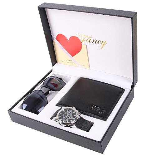 ♚Seven Geschenkset Herrenuhr Promotion Vatertag Schwarz - Geldbörse - Sonnenbrille