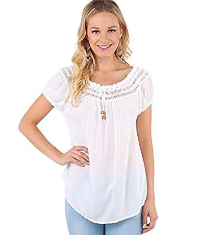 6888-WHT-SM: Gypsy Boho Loose Lightweight Off Shoulder Top Blouse Summer Tunic Shirt