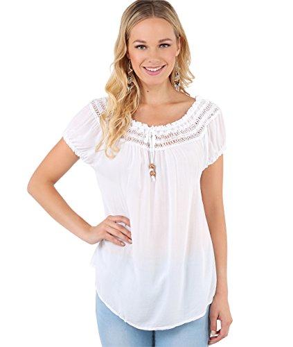 KRISP 6888-WHT-SM Damen Kurzarm Bluse Tunika (Weiß, Gr. S/M) - Hippie Tunika Bluse