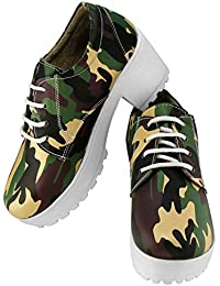 Zapatoz Presents Women's/Ladies/Female/Girls Trendy Fashionable Lightweight Comfortable Partywear, Casual Camouflage Shoes for Women Stylish Sneakers Heel-Lace Up Shoes_(S-9-Green)