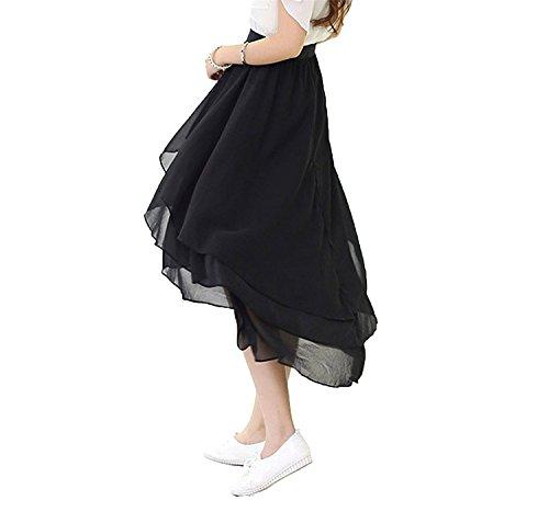 CoutureBridal® Damen Chiffon Rock 3 Layer Elastic Bund 60CM Schwarz