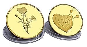 Moneta d'amore e regalo romantico, placcato in Oro 24 carati, perfetto per un'occasione speciale, per un regalo per un anniversario. Astuccio gratuito e borsellino in velluto da regalo - spedito da Amazon