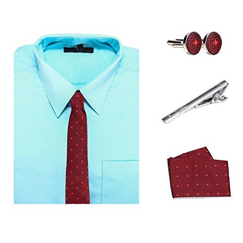 Pulchram Cravatta Uomo Cravatta Classica Poliestere Set con 1 Fazzoletto 2 Gemelli 1 Fermacravatta Confezione Regalo per Uomo Padre K08