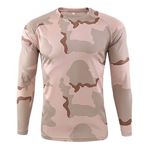 DNOQN Winter Pullover Herren Sweatshirt Outdoor Schnell Trocknend Camouflage Langarm Tops Bluse T-Shirts Khaki S