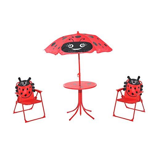 HOMCOM 3-tlg. Kindersitzgruppe Sitzgarnitur für Kinder Gartengarnitur Kindermöbel 1 Sonnenschirm + 1 Tisch + 2 Kinderstühle klappbar Marienkäfer-Muster Polyester + Oxfordstoff + Metall Rot