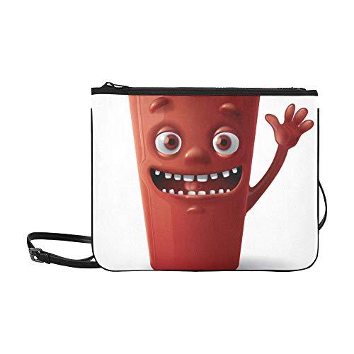 WYYWCY Nette Karikatur-Tasse Tee-Getränk-Muster-Gewohnheits-hochwertige Nylon-dünne Handtasche Umhängetasche Umhängetasche -