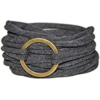 Wickelarmband in anthrazit mit bronzefarbenem Ring - onesize