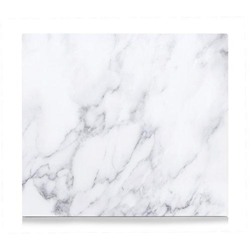 Zeller 26313 Herdblende-/Abdeckplatte Marmor, Glas, Weiß, 56 x 50 x 1 cm