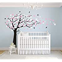 AIYANG Cherry Blossom Tree Wall Decals White Pink Flowers Wall Stickers for Baby Nursery Bedroom & Living Room Decoration (Black)