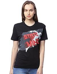 Wolfpack State of Mind Black Round Neck Half Sleeves 100% Cotton Girls/Womens T-Shirt