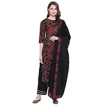 Khushal K Women's Cotton Straight Salwar Suit Set (KK-287-Black-S_Black_Small)