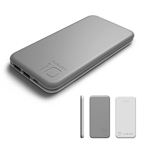 10000mAh Cargador portátil, Puridea Salida 3A Doble USB Batería Externa (Batería as de la Batería del Li-polímero la entrada 2.4A) para iPhone X 8 7 6 Plus Samsung Nokia LG Sony(Gris)