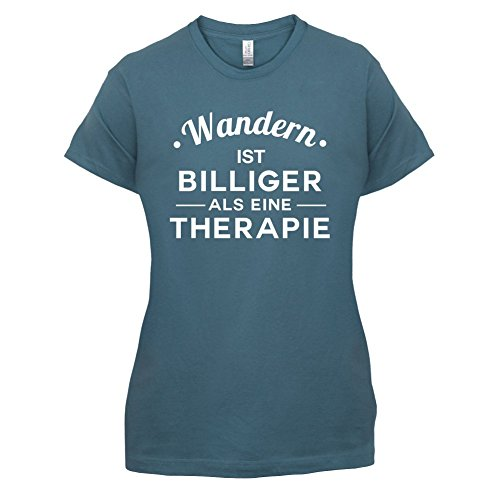 Wandern ist billiger als eine Therapie - Damen T-Shirt - 14 Farben Indigoblau