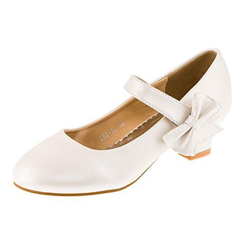 Max Shoes Festliche Mädchen Pumps Schuhe Ballerinas Lackoptik Schleife Hochzeit Kommunion M182pews Perlmutt Weiß 26 EU/Fußlänge 16,0 cm