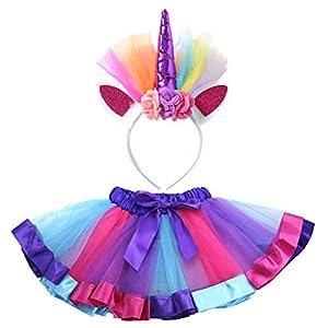 BESTOYARD Einhorn Tutu Kleider Fotografie Kostüm Set Regenbogen Ballettrock Tanzkleid Kinder Mädchen Tüllrock mit Einhorn Stirnband Größe M