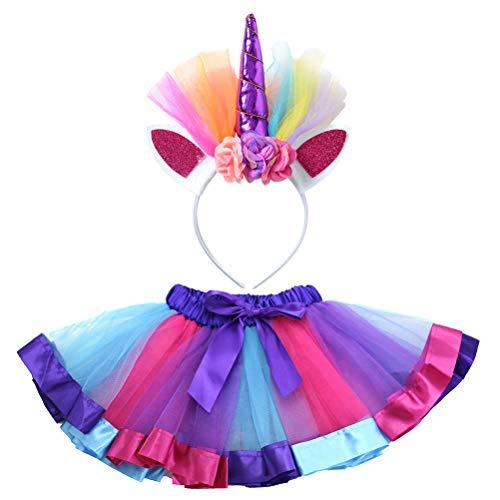 BESTOYARD Einhorn Tutu Kleider Fotografie Kostüm Set Regenbogen Ballettrock Tanzkleid Kinder Mädchen Tüllrock mit Einhorn Stirnband Größe S