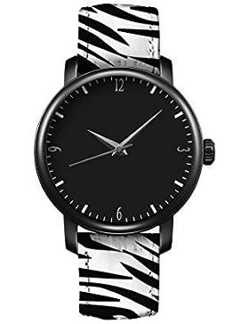 iCreat Uhr Vintage Lederausstattung Leichtmetall Damen Analoge Quarz Armbanduhr retro Schwarzweiss Zebra
