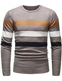 ZIYOU Herren Herbst Winter Sweatshirt Tops, Casual Outwear Langarm Strick Hemd Gestreift Slim fit Pullover mit Rundhalsausschnitt