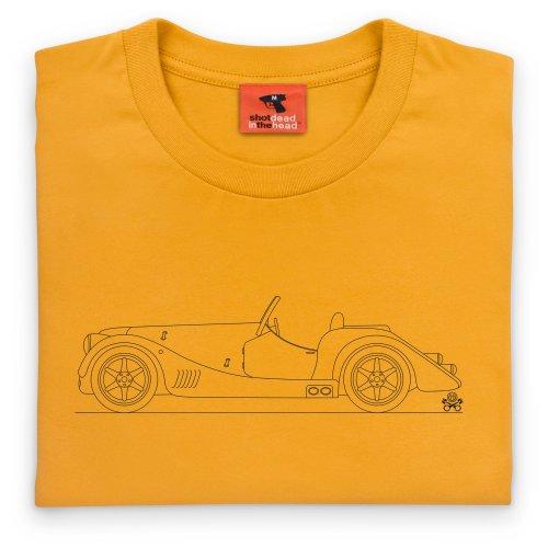 PistonHeads 2012 Plus 8 Classic Body Coupe T-Shirt, Herren Gelb