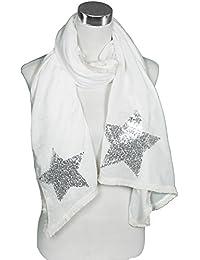 Mevina Damen Schal Glitzer Stern und Spitzen Borte Dreieck Schnitt groß Retro Vintage Tuch Schal Halstuch Premium Qualität