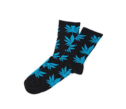 Socken Ganja Blatt Einmalige Anlage Weed Blatt drucken Unisex Baumwolle hohe Crew Athletische Rasta MFAZ Morefaz Ltd (Socks Black Blue)