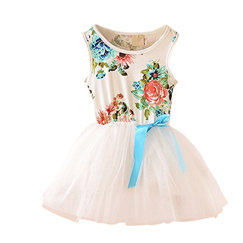 patgoal Bambina Floreale Senza Maniche Gilet Costume da principessa Bowknot Tulle Tutu Gonne White 4-5 (Gonna Floreale Top)