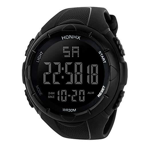 Eucoo Herren Sportuhr Analog Digital Military Sport Led Wasserdichte Elektronische Uhr(Schwarz)