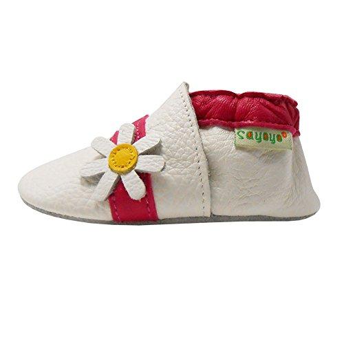 Sayoyo Karikatur Lauflernschuhe Baby Leder weiche Sohle Kugelsicherer Krippe Enfants Schuhe Weiß