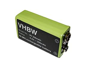 vhbw Ni-MH 9V Batterie 200mAh (8.4V) pour téléphone télécommande, multidétecteur GMS 120, Cable Tracker MX6812 comme 9V-Block E-Block 6LR61 6F22 PP3
