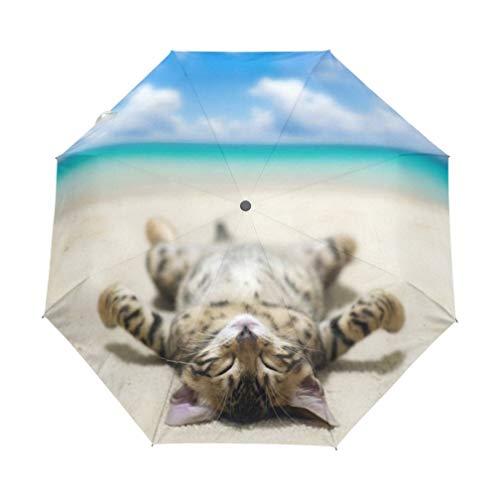 WFCUP eine Katze, die auf Strand liegt, druckte automatischen Regenschirm-Wind-beständig faltende Regen-Frauen-windundurchlässige Regenschirme Regen für Männer-Schwarze Beschichtung