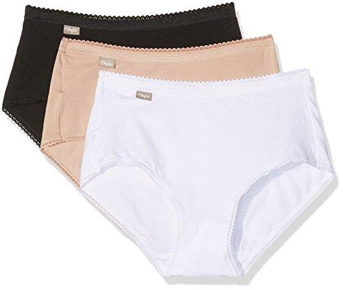 Playtex Damen Coton - Culotte Midi 2+1 Gratuit Unterhosen, Mehrfarbig (Blanc/Beige/Noir), 44 (Herstellergröße: 46) (erPack 3 -