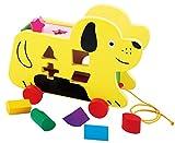 Toys of Wood Oxford Perro de madera con ruedas para arrastrar de madera - juguete para niños pequeños