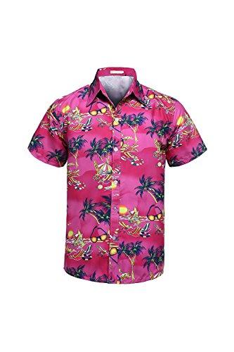 Hemden Button Ausgefranste Aloha Rosered2 L (Vater Sohn Halloween Kostüm)
