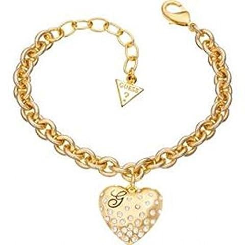 GUESS - Bracelet Guess Glossy Hearts En Métal Doré Et Son Coeur - Métal doré - 20 cm