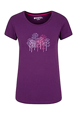 Mountain Warehouse T-shirt Femme Manches Courtes 100% Coton Respirant Forest Trees Violet 40