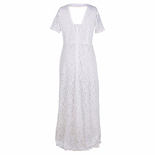 Shanxing Damen Kleider Spitzenkleid Party Kleid Hochzeit Cocktailkleid Abendkleid Maxikleid Plus Größe Weiß