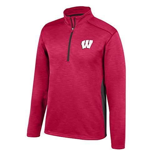 eLITe Top of The World NCAA Men's Ohio State Buckeyes Poly Cross Dye Next Calibur Half Zip True Red X Large Fleece-screen Print Pullover