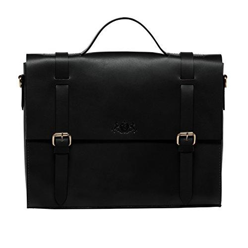 """SID & VAIN Aktentasche BOSTON - Laptoptasche fit für 15"""", iPad mit Extra-Abtrennung- Businesstasche mit Schultergurt festes echtes Sattelleder hellbraun-cognac schwarz"""
