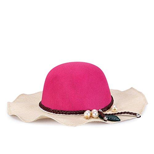 Damen klappbare Kappe flexible Sommer Strand Sonne Hüte-Rosa Rosa Softball-rucksack